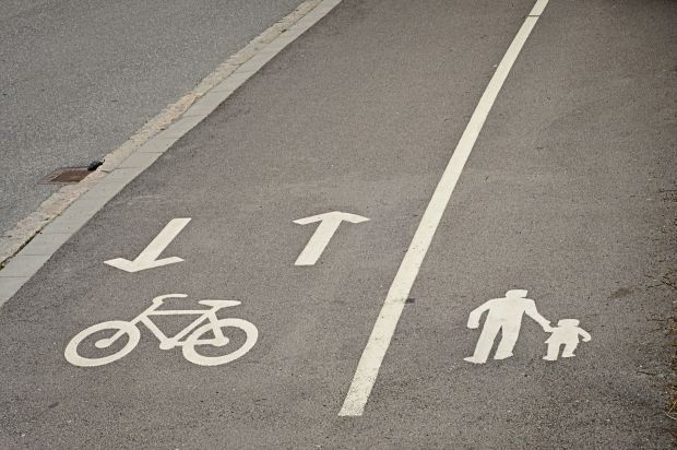 Biking and walking only signs