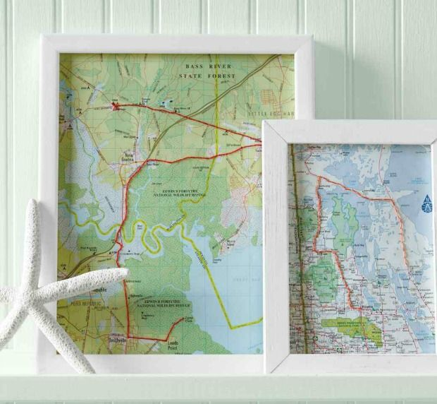 Framed upcycled map as a diy home decor idea & The Art of Upcycling: 7 DIY Home Decor Ideas - Goodnet
