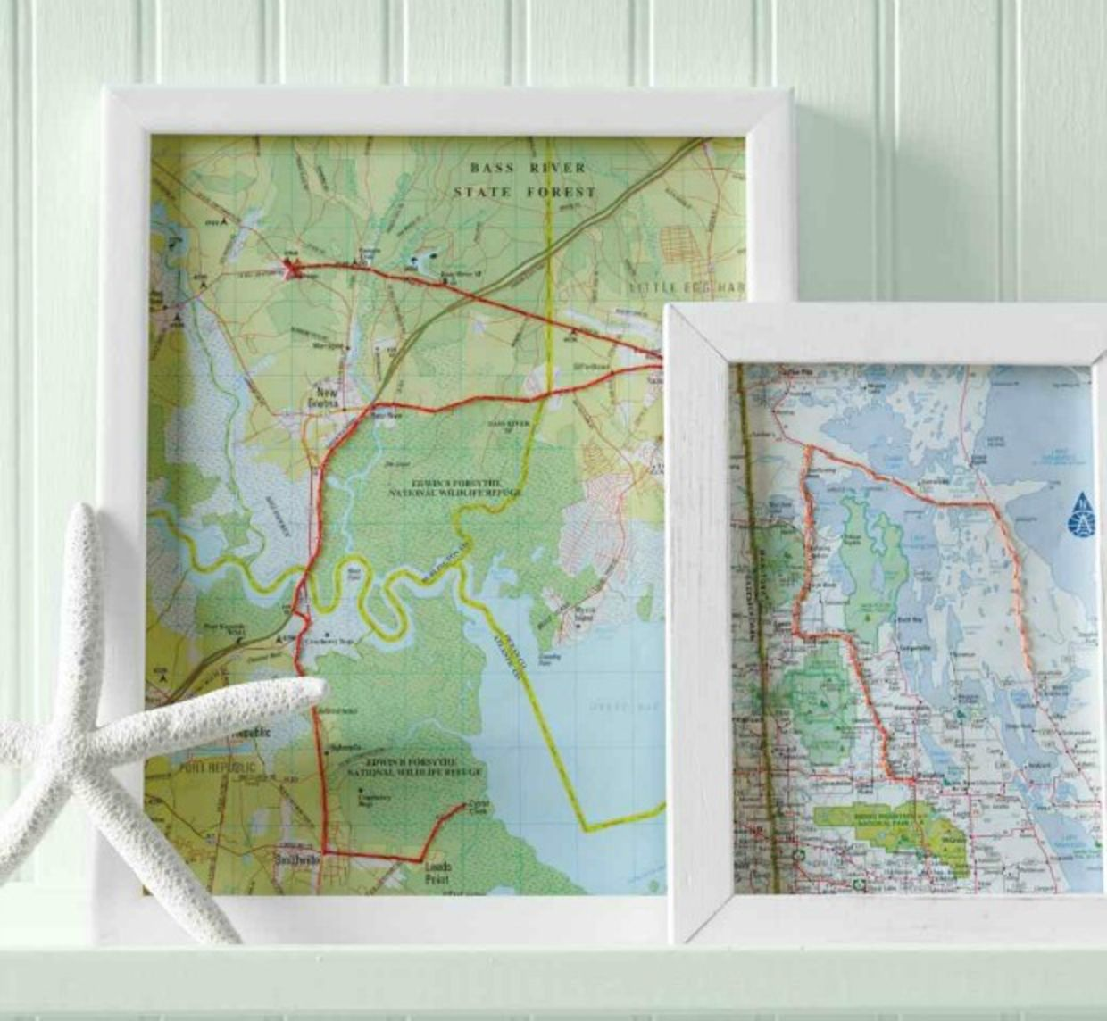 Framed upcycled map as a diy home decor idea
