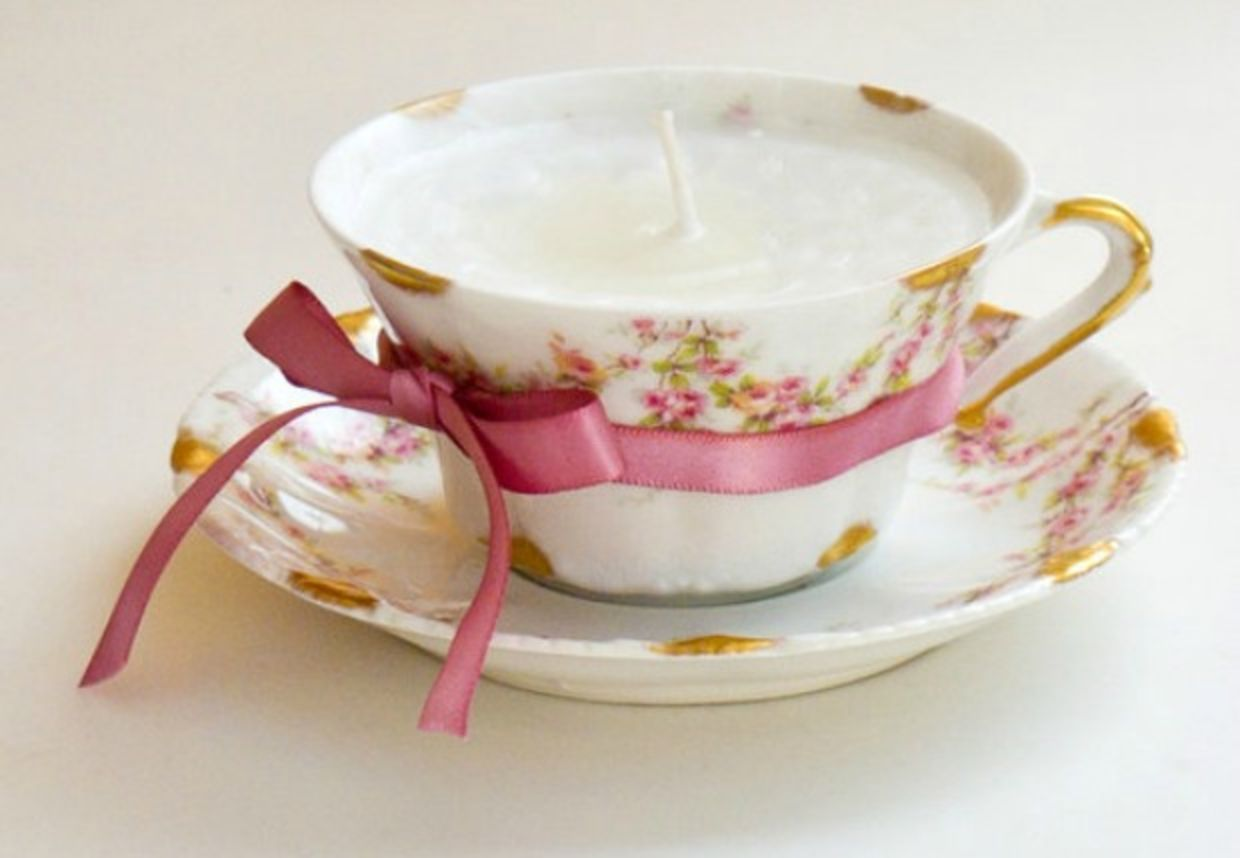 Teacup upcycled as candle is a diy home decor idea