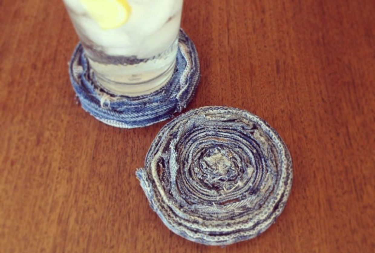 Upcycled coaster made from denim is a diy home decor idea