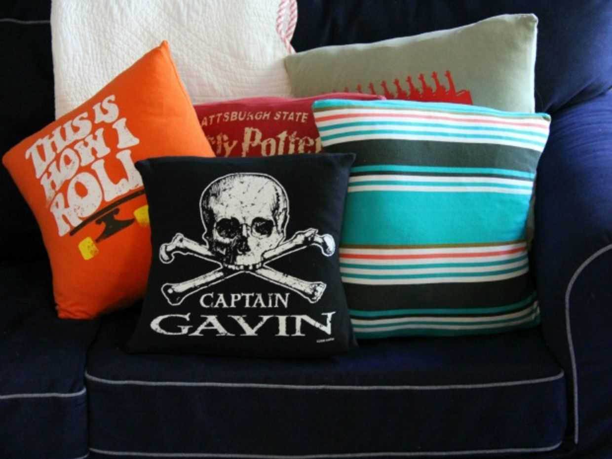 Upcycled pillow from tshirt is a diy home decor idea