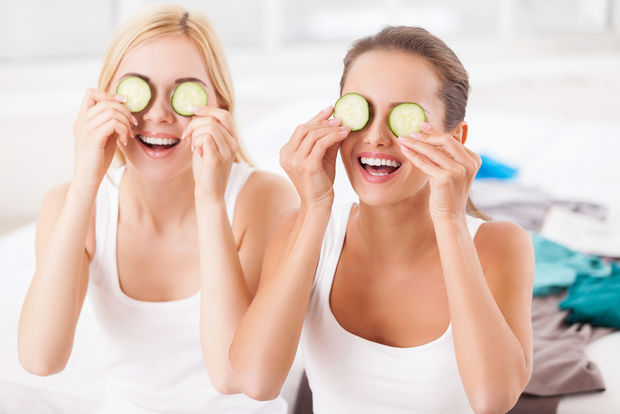 Girls making organic spa treatments at home