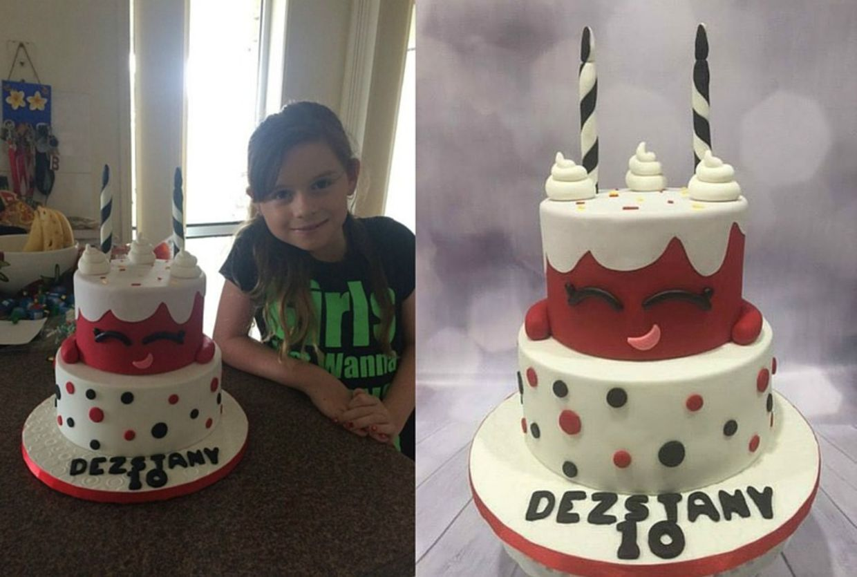 smiling girl with cake