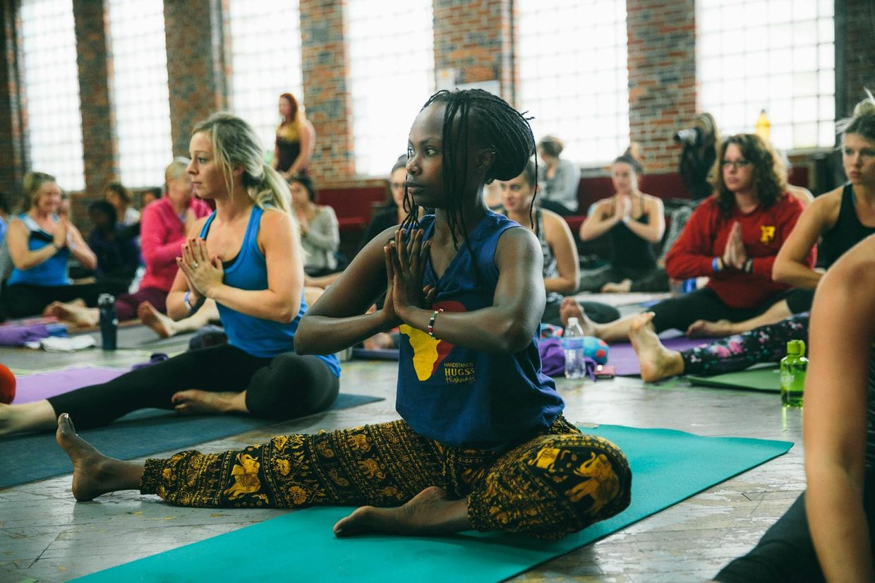 A class at the At Africa Yoga Project Shine Center in Nairobi, Kenya
