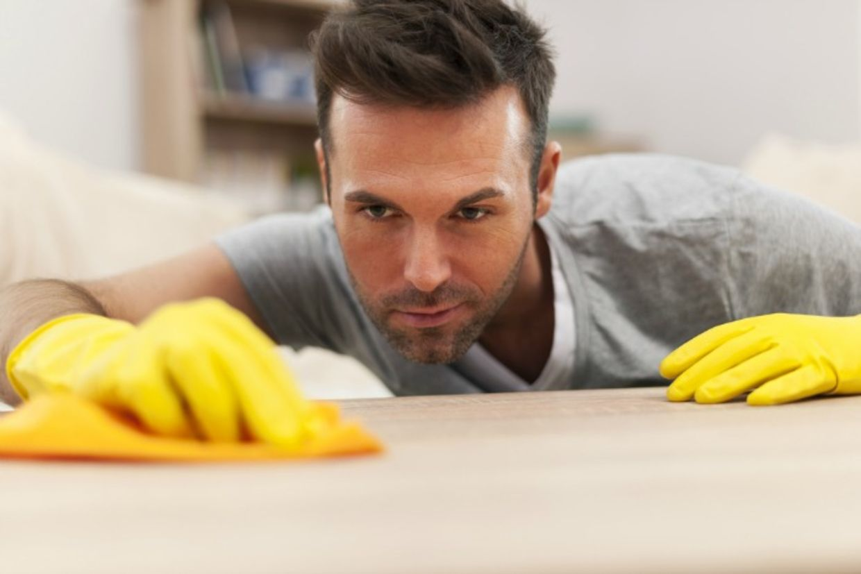 Man focusing on spring cleaning