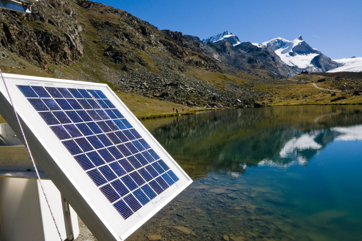 Solar panels in the Swiss alps