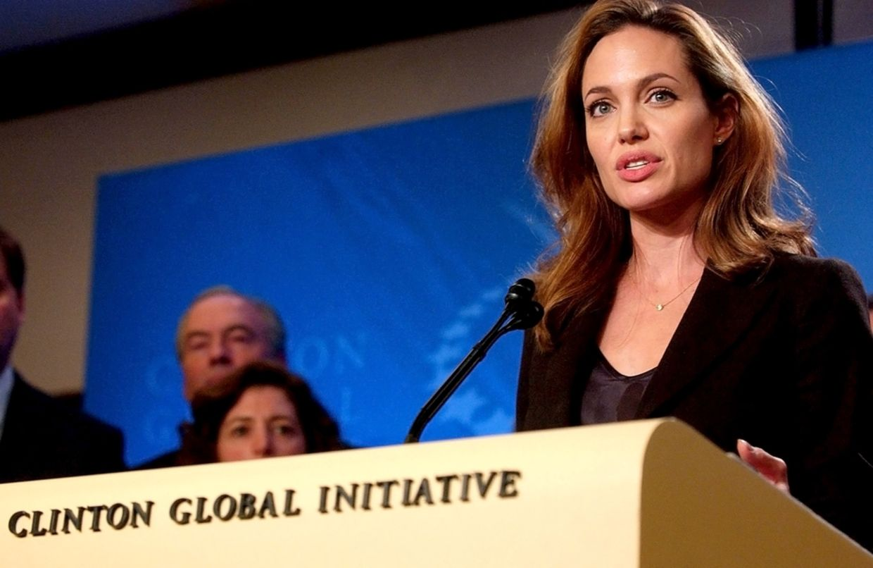 Angelina Jolie at the press conference for The Third Annual Clinton Global Initiative Summit in 2007 (Everett Collection / Shutterstock.com)