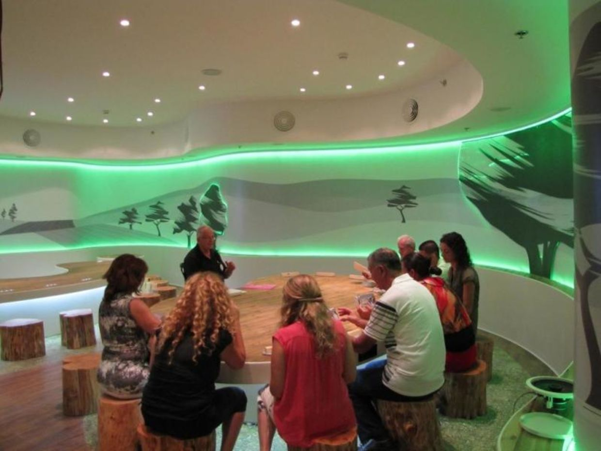 Children take part in the experiential Dialog with Time exhibition. (The Israeli Children's Museum/Tal Kirschenbaum)