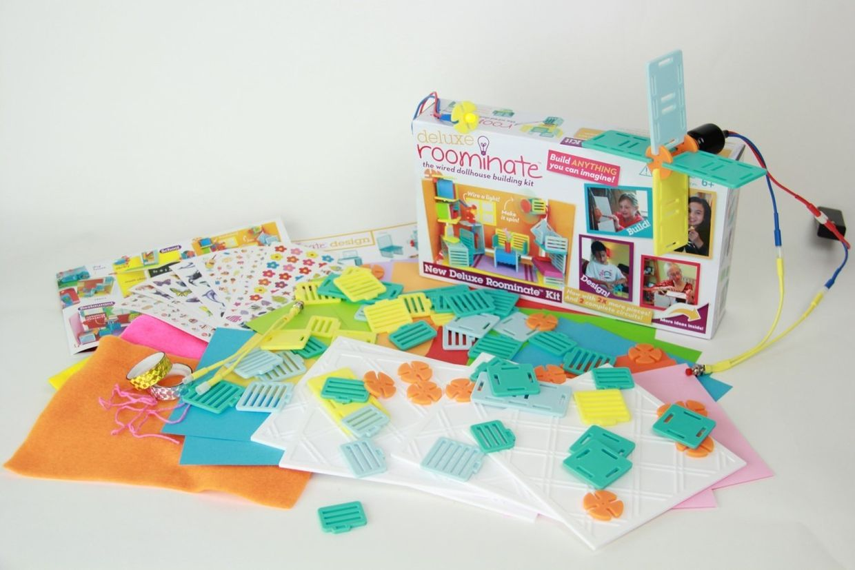 Roominate teaches girls aged 6-10 about engineering with a unique blend of building, circuits, design, crafts, storytelling, and creativity. (Roominate)