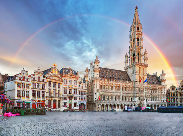 Brussels, rainbow over Grand Place, Belgium