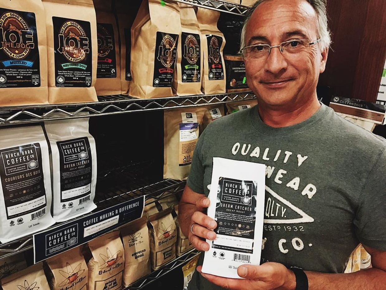 Mark Marsolais-Nahwegahbow, the owner of Birch Bark Coffee Company, is selling coffee in order to support Indigenous communities struggling with boil water advisories.