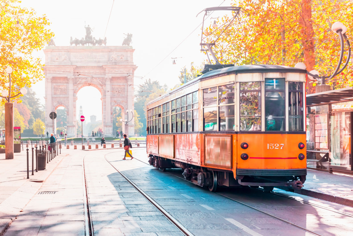 Famous vintage tram in the center of the Old Town of Milan