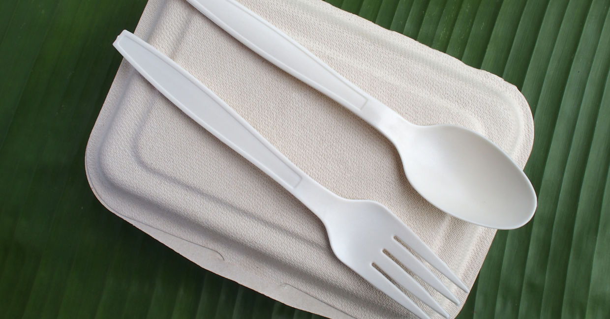 bio plastic spoon fork and biodegradable lunch box on banana leaf