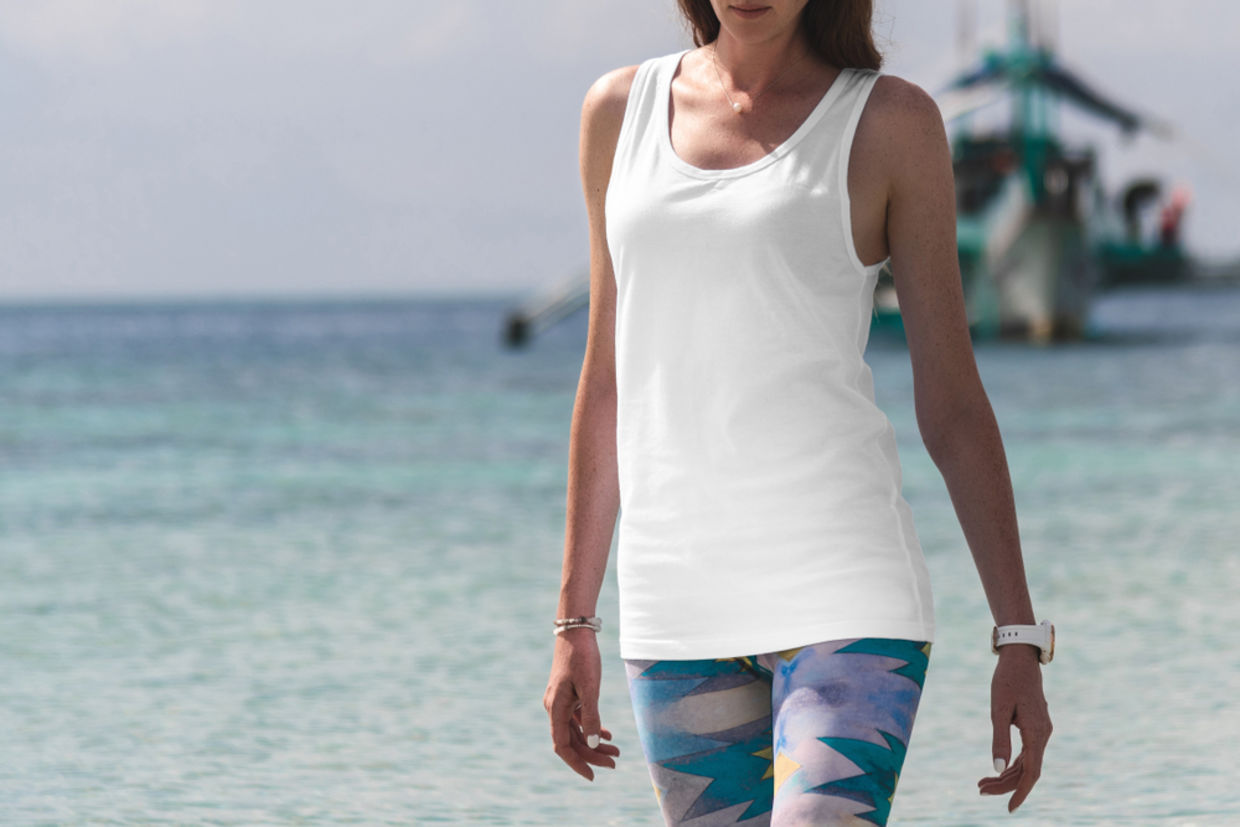 These leggings are made from recycled plastic bottles.
