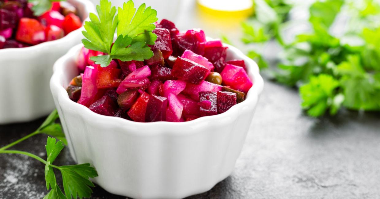 Healthy beet benefits are in this salad.